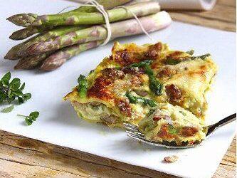 Lasagne agli asparagi e rigatino